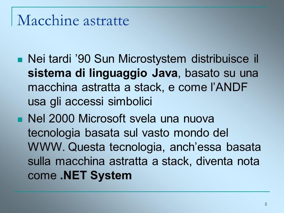 8 Macchine astratte Nei tardi 90 Sun Microstystem distribuisce il sistema di linguaggio Java, basato su una macchina astratta a stack, e come lANDF us