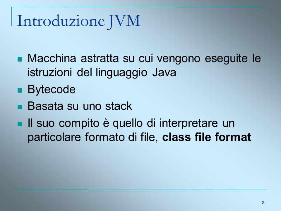 9 Introduzione JVM Macchina astratta su cui vengono eseguite le istruzioni del linguaggio Java Bytecode Basata su uno stack Il suo compito è quello di
