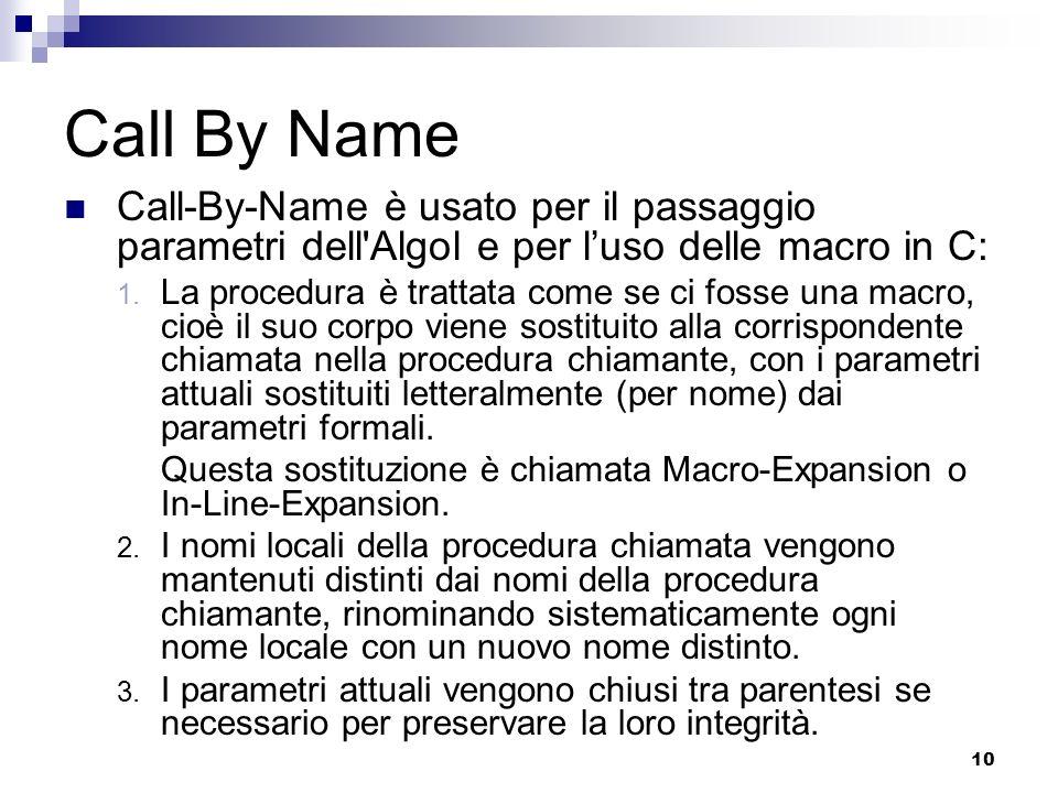 10 Call By Name Call-By-Name è usato per il passaggio parametri dell Algol e per luso delle macro in C: 1.