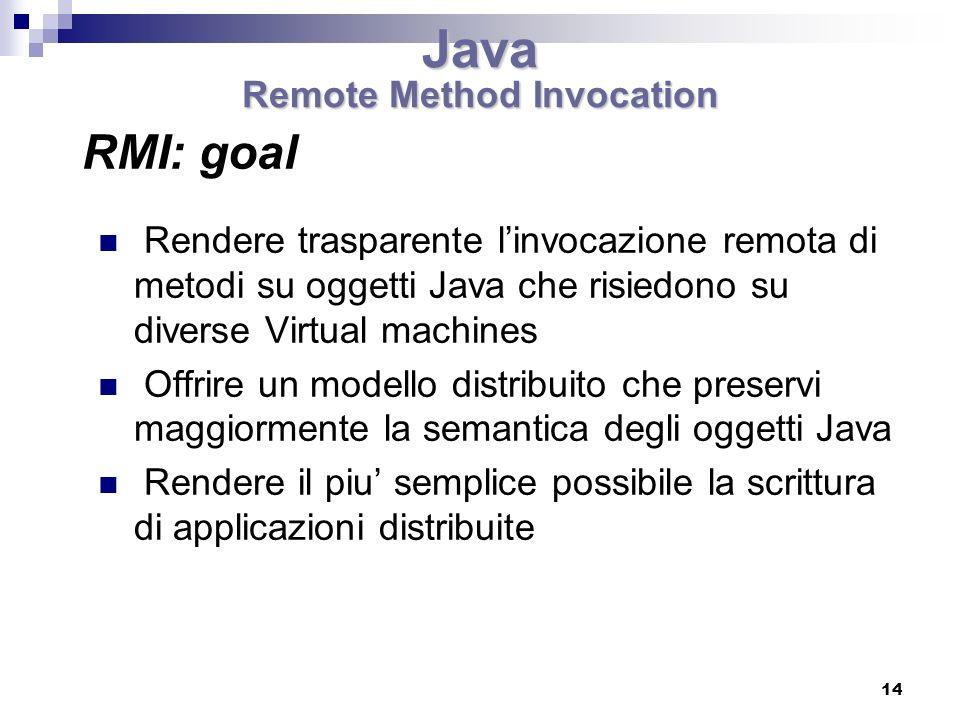 14 Rendere trasparente linvocazione remota di metodi su oggetti Java che risiedono su diverse Virtual machines Offrire un modello distribuito che preservi maggiormente la semantica degli oggetti Java Rendere il piu semplice possibile la scrittura di applicazioni distribuite RMI: goal Java Remote Method Invocation