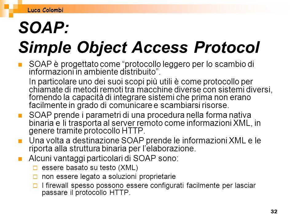 32 SOAP: Simple Object Access Protocol SOAP è progettato come protocollo leggero per lo scambio di informazioni in ambiente distribuito.