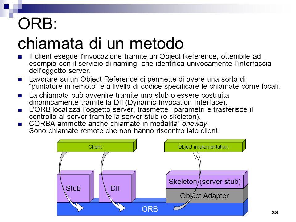 38 ORB: chiamata di un metodo Il client esegue l invocazione tramite un Object Reference, ottenibile ad esempio con il servizio di naming, che identifica univocamente l interfaccia dell oggetto server.