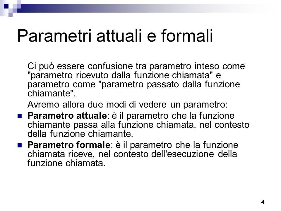 4 Parametri attuali e formali Ci può essere confusione tra parametro inteso come parametro ricevuto dalla funzione chiamata e parametro come parametro passato dalla funzione chiamante .