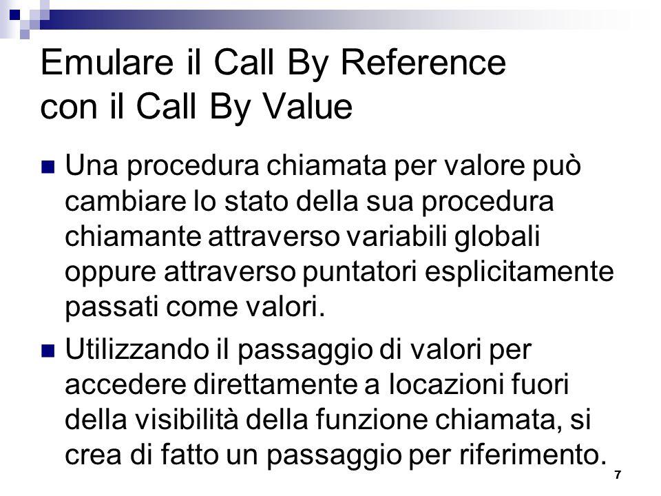 8 Copy-Restore Si tratta di una via di mezzo tra il Call-by-value e il Call-by-reference.