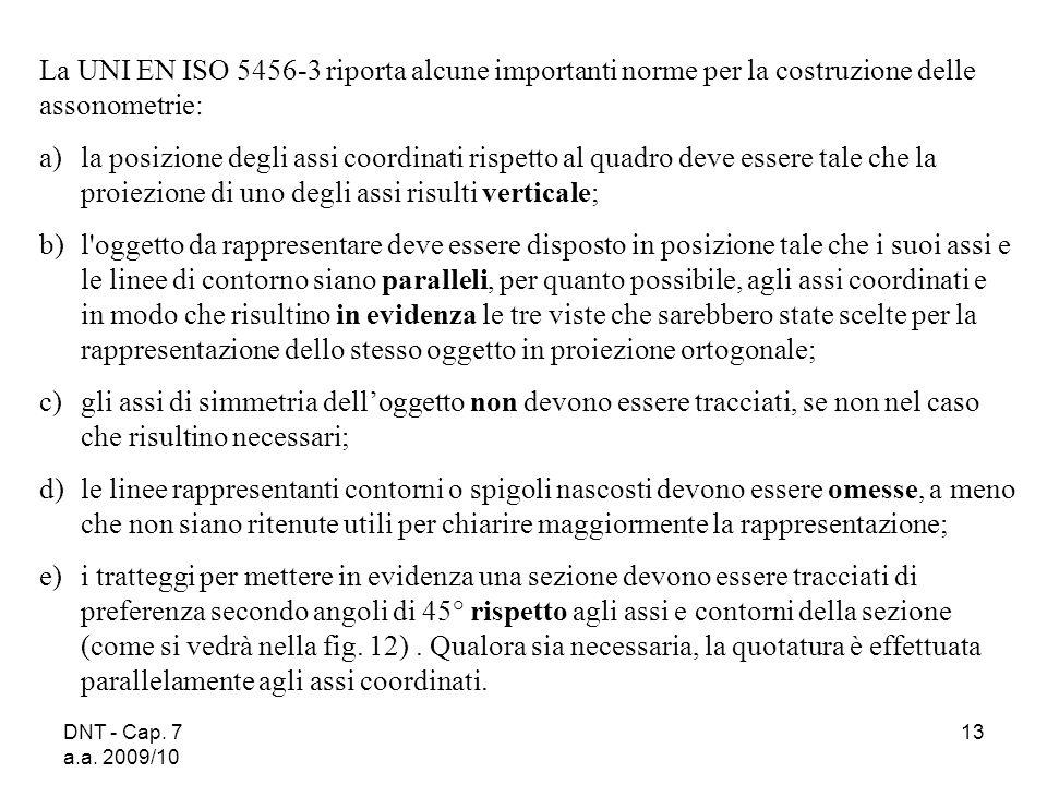 DNT - Cap. 7 a.a. 2009/10 13 La UNI EN ISO 5456 3 riporta alcune importanti norme per la costruzione delle assonometrie: a)la posizione degli assi coo