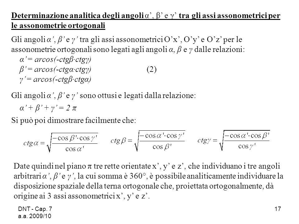 DNT - Cap. 7 a.a. 2009/10 17 Determinazione analitica degli angoli α, β e γ tra gli assi assonometrici per le assonometrie ortogonali Gli angoli α, β