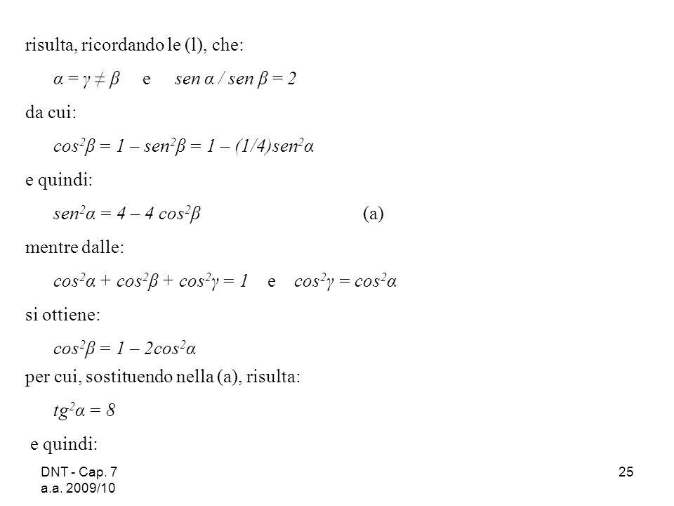 DNT - Cap. 7 a.a. 2009/10 25 risulta, ricordando le (l), che: α = γ β e sen α / sen β = 2 da cui: cos 2 β = 1 – sen 2 β = 1 – (1/4)sen 2 α e quindi: s