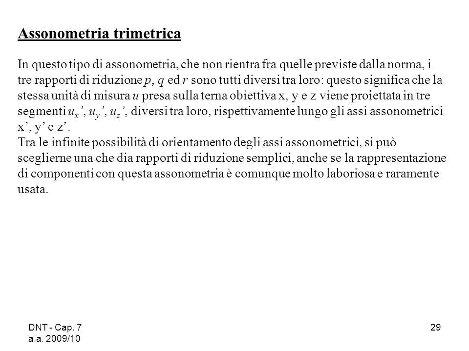 DNT - Cap. 7 a.a. 2009/10 29 Assonometria trimetrica In questo tipo di assonometria, che non rientra fra quelle previste dalla norma, i tre rapporti d