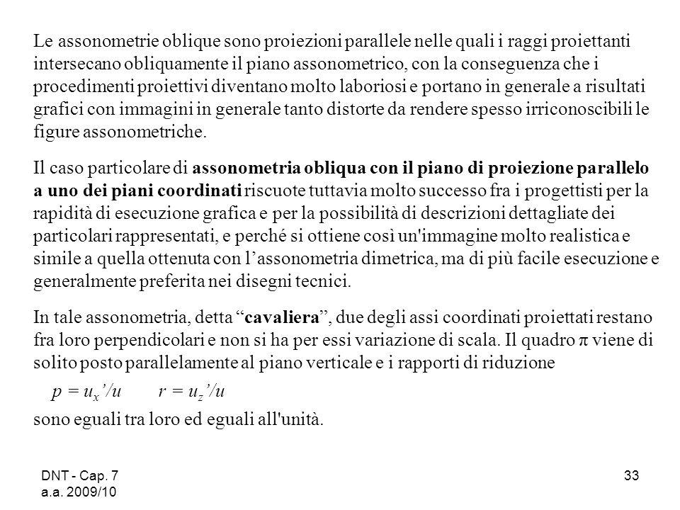 DNT - Cap. 7 a.a. 2009/10 33 Le assonometrie oblique sono proiezioni parallele nelle quali i raggi proiettanti intersecano obliquamente il piano asson