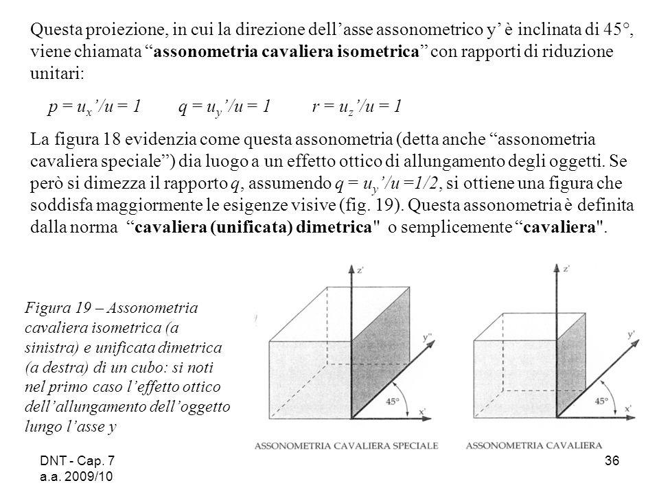 DNT - Cap. 7 a.a. 2009/10 36 Questa proiezione, in cui la direzione dellasse assonometrico y è inclinata di 45°, viene chiamata assonometria cavaliera