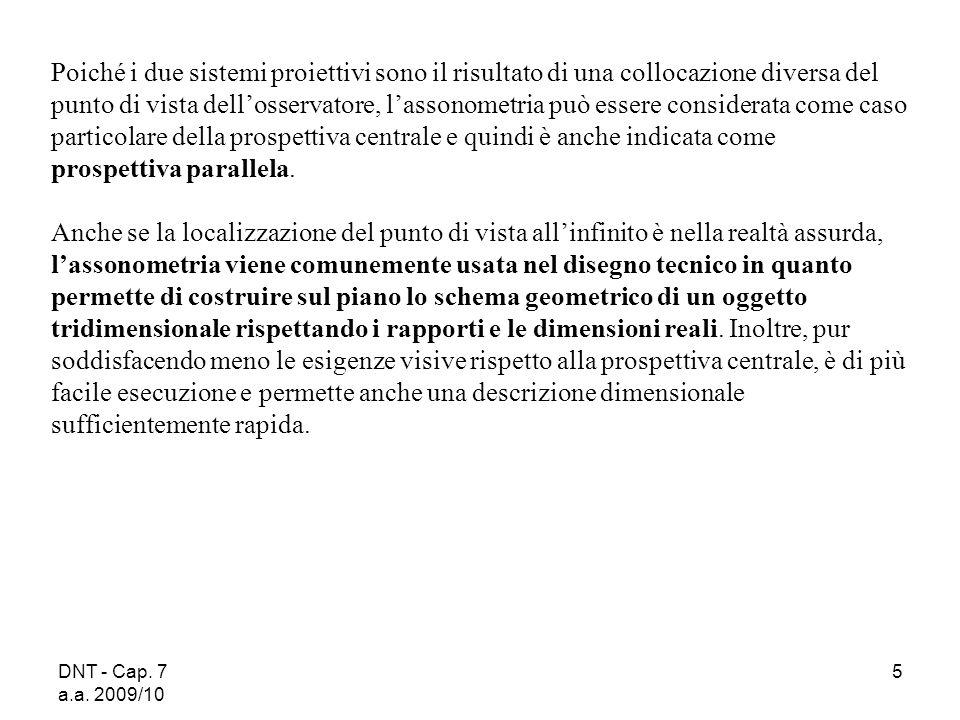 DNT - Cap. 7 a.a. 2009/10 6 Tipi di assonometrie