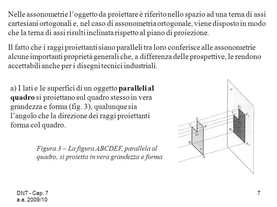 DNT - Cap. 7 a.a. 2009/10 7 Nelle assonometrie loggetto da proiettare è riferito nello spazio ad una terna di assi cartesiani ortogonali e, nel caso d