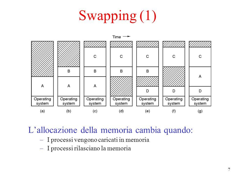 7 Swapping (1) Lallocazione della memoria cambia quando: –I processi vengono caricati in memoria –I processi rilasciano la memoria