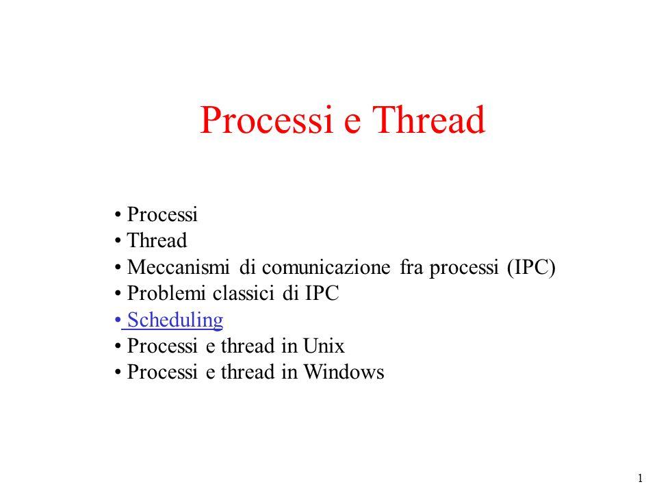 22 Scheduling dei Thread (2) Un possibile scheduling per thread kernel-level Tipicamente esiste una thread table unica per tutti i processi