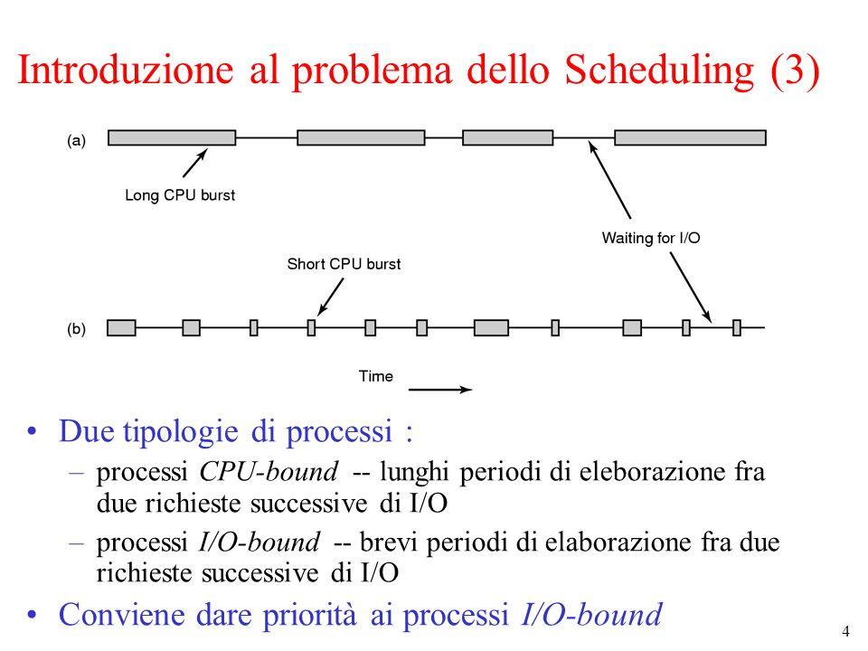 15 Scheduling con priorità (2) Molte strategie per il calcolo della priorità Tipicamente : –priorità dinamica (es.