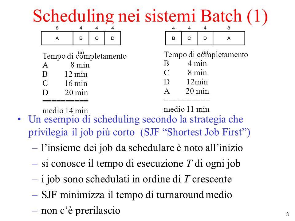 19 Altri approcci Scheduling garantito Scheduling a lotteria Scheduling equo user #1 {A,B,C,D} user #2 {E} AEBECEDEAEBECEDE...