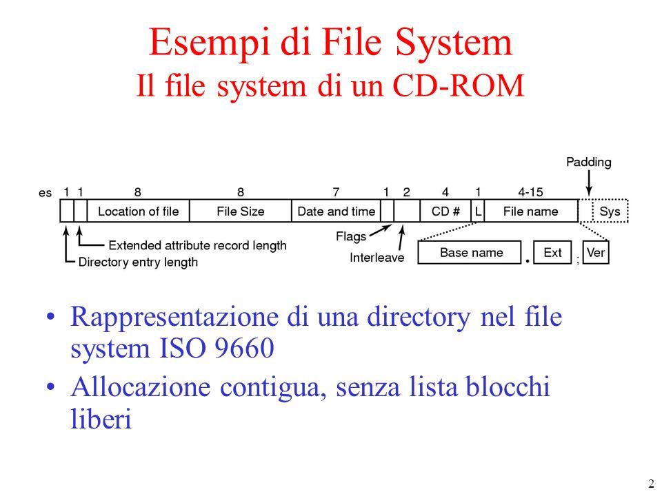 3 Il File System MS-DOS (1) Rappresentazione di una directory in MS-DOS Attributi : file nascosto, file di sistema, etc.