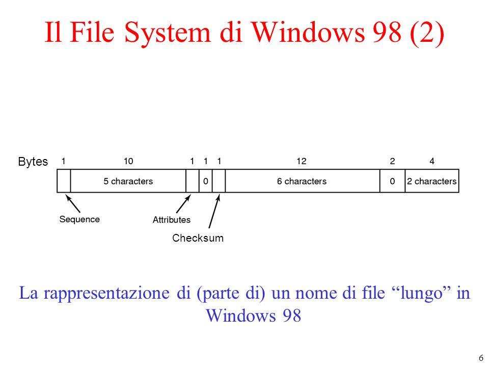 7 Il File System di Windows 98 (3) Esempio di come viene rappresentato un nome lungo in Windows 98