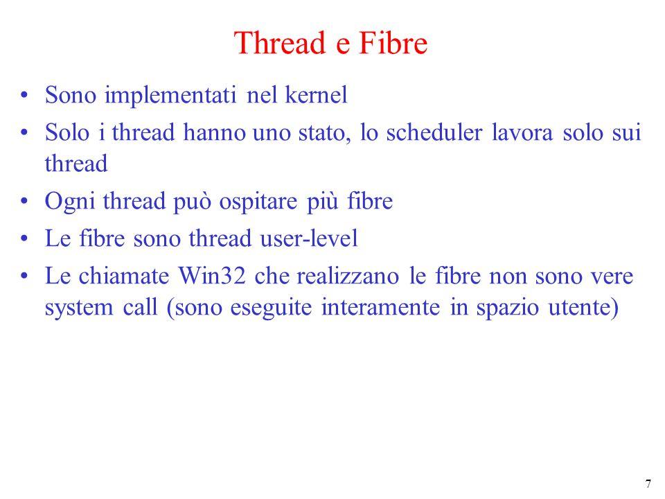 7 Thread e Fibre Sono implementati nel kernel Solo i thread hanno uno stato, lo scheduler lavora solo sui thread Ogni thread può ospitare più fibre Le fibre sono thread user-level Le chiamate Win32 che realizzano le fibre non sono vere system call (sono eseguite interamente in spazio utente)