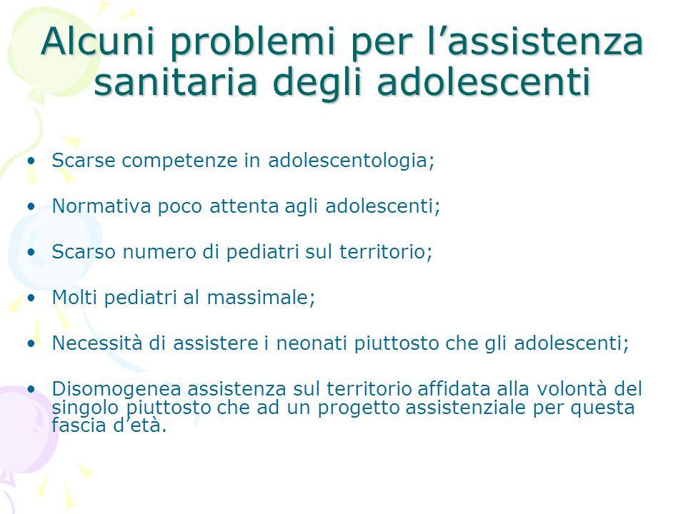 Alcuni problemi per lassistenza sanitaria degli adolescenti Scarse competenze in adolescentologia; Normativa poco attenta agli adolescenti; Scarso num