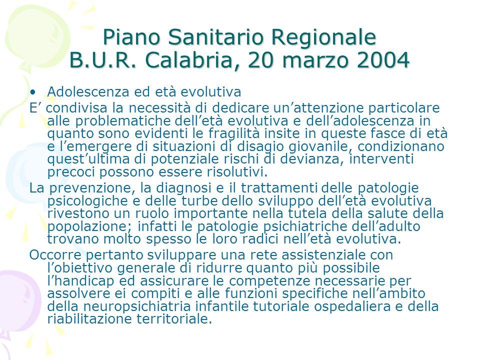 Piano Sanitario Regionale B.U.R. Calabria, 20 marzo 2004 Adolescenza ed età evolutiva E condivisa la necessità di dedicare unattenzione particolare al