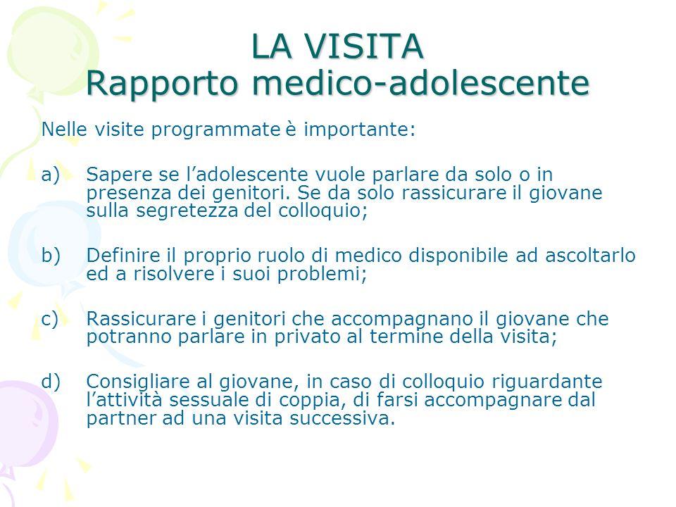 LA VISITA Rapporto medico-adolescente Nelle visite programmate è importante: a)Sapere se ladolescente vuole parlare da solo o in presenza dei genitori