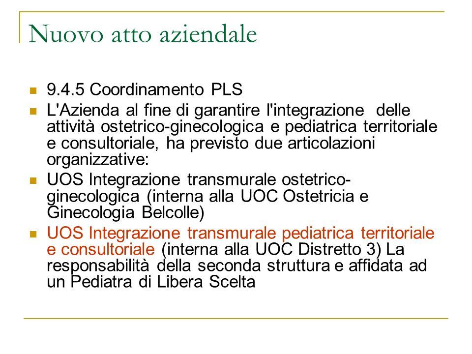 Nuovo atto aziendale 9.4.5 Coordinamento PLS L'Azienda al fine di garantire l'integrazione delle attività ostetrico-ginecologica e pediatrica territor