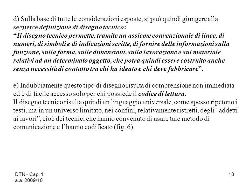 DTN - Cap. 1 a.a. 2009/10 10 d) Sulla base di tutte le considerazioni esposte, si può quindi giungere alla seguente definizione di disegno tecnico: Il