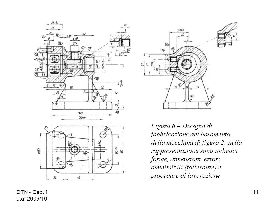 DTN - Cap. 1 a.a. 2009/10 11 Figura 6 – Disegno di fabbricazione del basamento della macchina di figura 2: nella rappresentazione sono indicate forme,