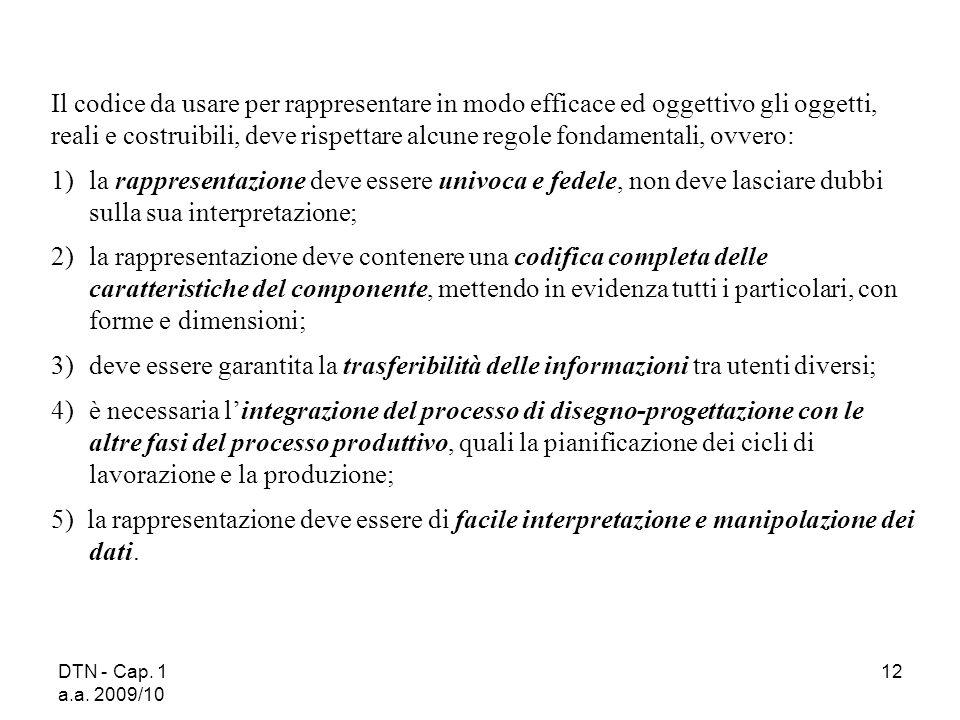 DTN - Cap. 1 a.a. 2009/10 12 Il codice da usare per rappresentare in modo efficace ed oggettivo gli oggetti, reali e costruibili, deve rispettare alcu