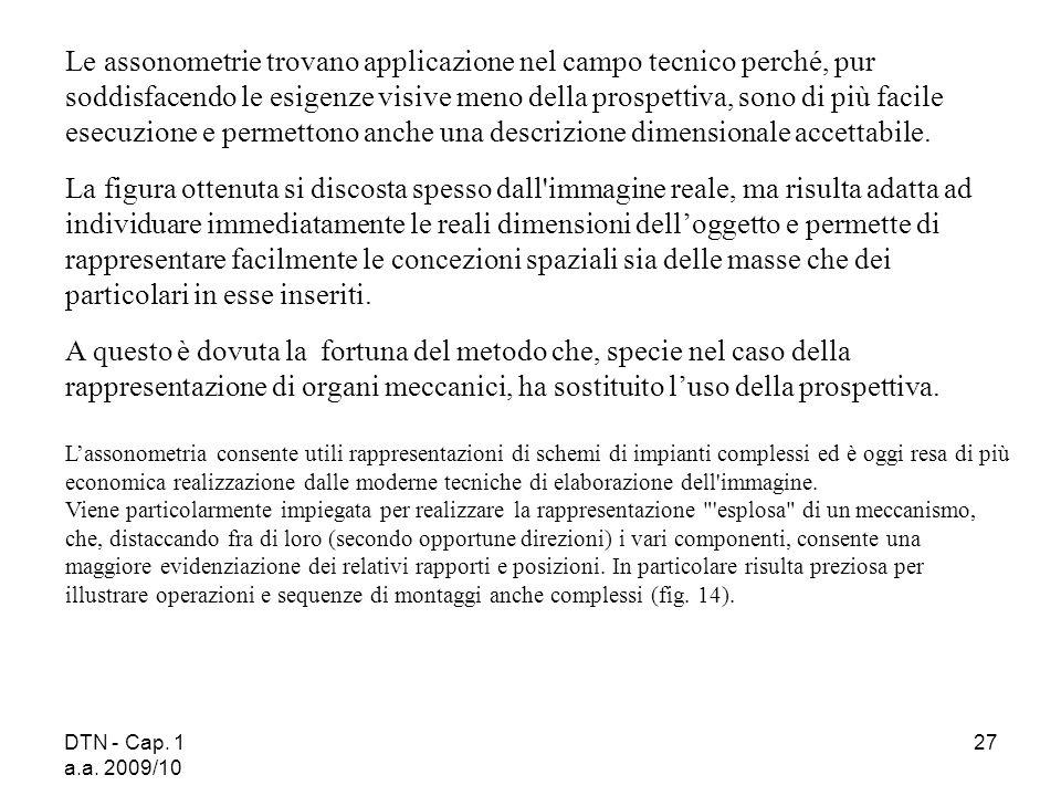 DTN - Cap. 1 a.a. 2009/10 27 Le assonometrie trovano applicazione nel campo tecnico perché, pur soddisfacendo le esigenze visive meno della prospettiv