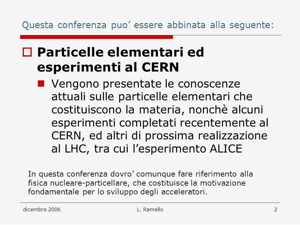 dicembre 2006L. Ramello2 Questa conferenza puo essere abbinata alla seguente: Particelle elementari ed esperimenti al CERN Vengono presentate le conos