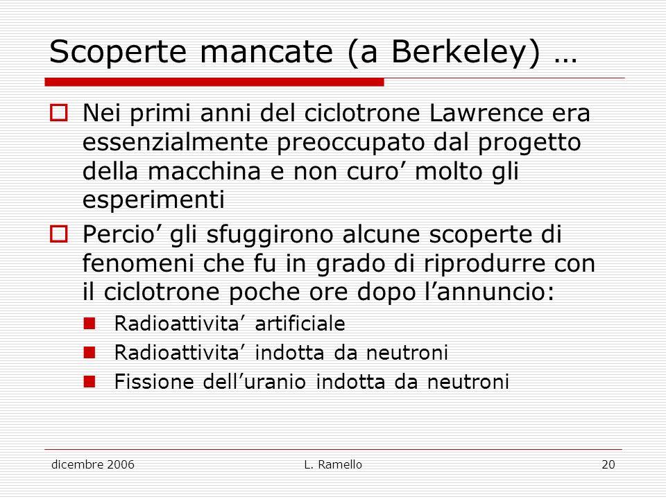 dicembre 2006L. Ramello20 Scoperte mancate (a Berkeley) … Nei primi anni del ciclotrone Lawrence era essenzialmente preoccupato dal progetto della mac