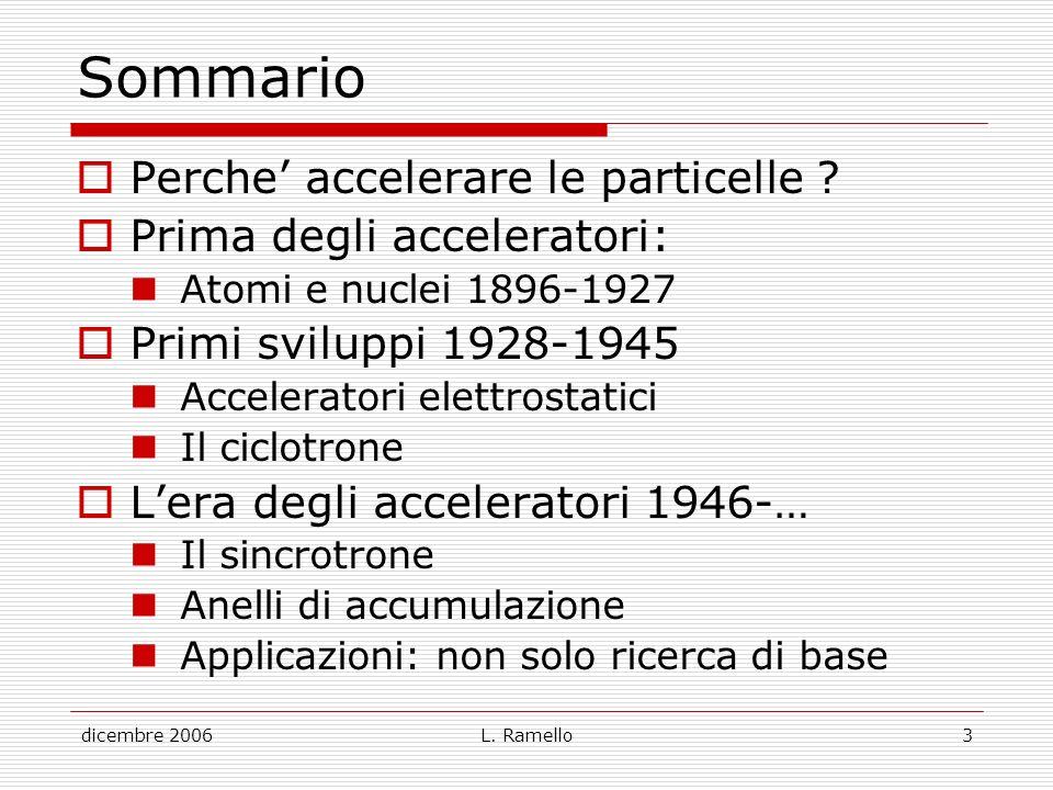 dicembre 2006L. Ramello3 Sommario Perche accelerare le particelle ? Prima degli acceleratori: Atomi e nuclei 1896-1927 Primi sviluppi 1928-1945 Accele
