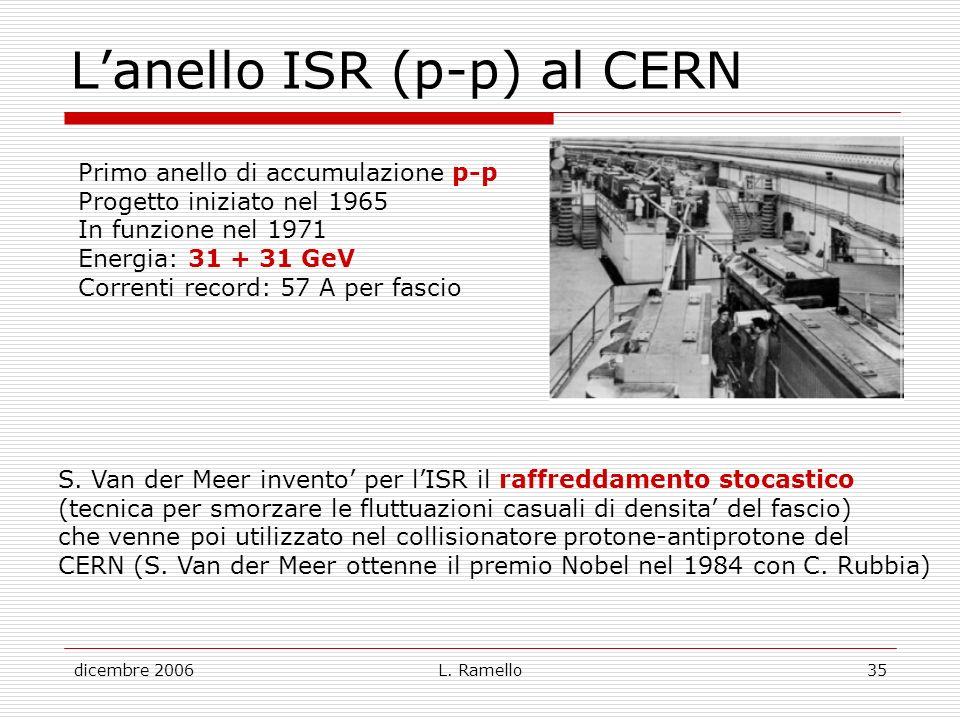 dicembre 2006L. Ramello35 Lanello ISR (p-p) al CERN Primo anello di accumulazione p-p Progetto iniziato nel 1965 In funzione nel 1971 Energia: 31 + 31