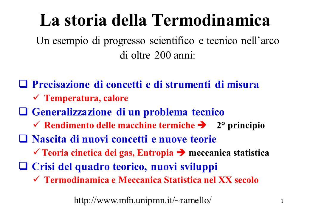 1 La storia della Termodinamica Un esempio di progresso scientifico e tecnico nellarco di oltre 200 anni: Precisazione di concetti e di strumenti di m