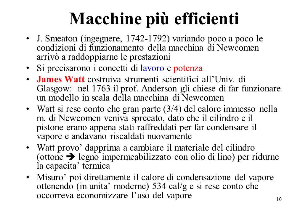 10 Macchine più efficienti J. Smeaton (ingegnere, 1742-1792) variando poco a poco le condizioni di funzionamento della macchina di Newcomen arrivò a r