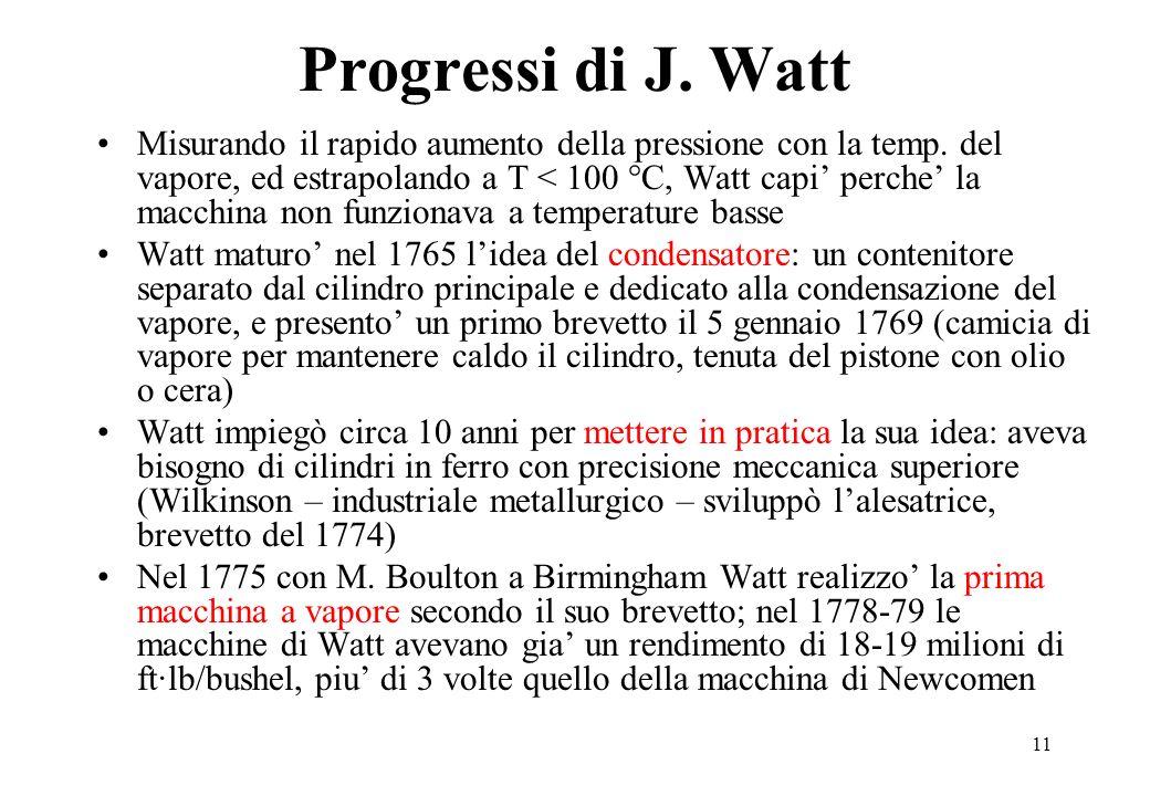 11 Progressi di J. Watt Misurando il rapido aumento della pressione con la temp. del vapore, ed estrapolando a T < 100 °C, Watt capi perche la macchin