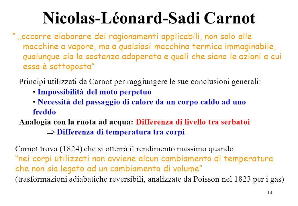 14 Nicolas-Léonard-Sadi Carnot …occorre elaborare dei ragionamenti applicabili, non solo alle macchine a vapore, ma a qualsiasi macchina termica immag