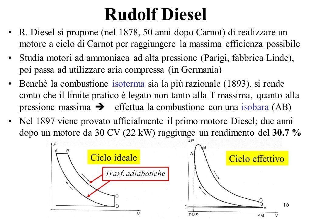 16 Rudolf Diesel R. Diesel si propone (nel 1878, 50 anni dopo Carnot) di realizzare un motore a ciclo di Carnot per raggiungere la massima efficienza