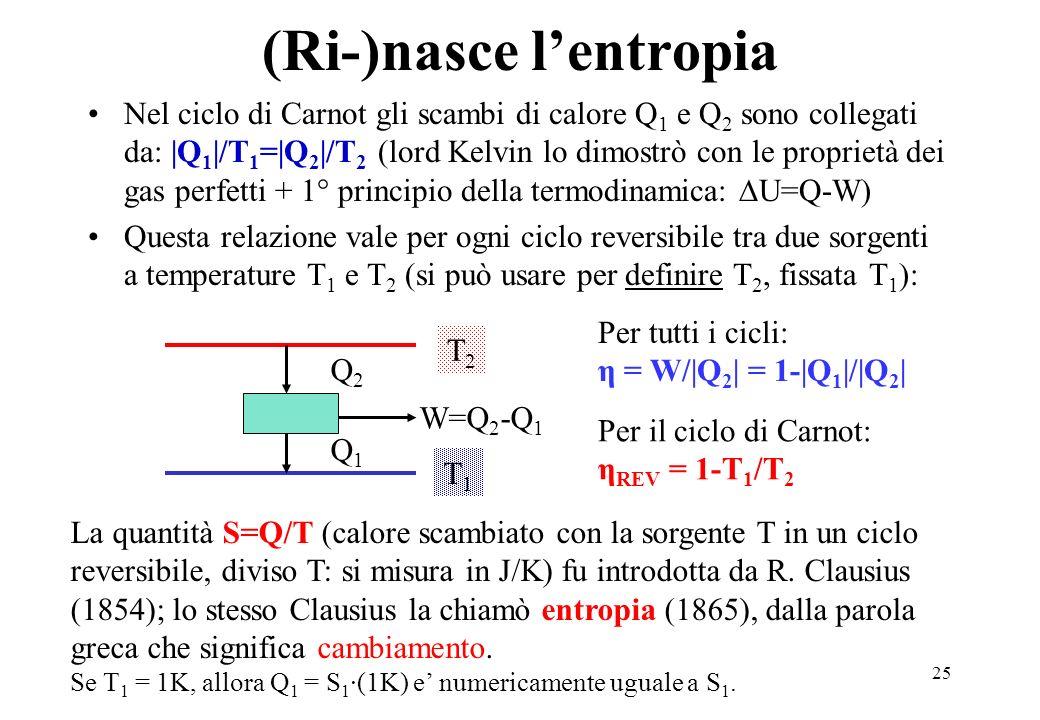25 (Ri-)nasce lentropia Nel ciclo di Carnot gli scambi di calore Q 1 e Q 2 sono collegati da: |Q 1 |/T 1 =|Q 2 |/T 2 (lord Kelvin lo dimostrò con le p