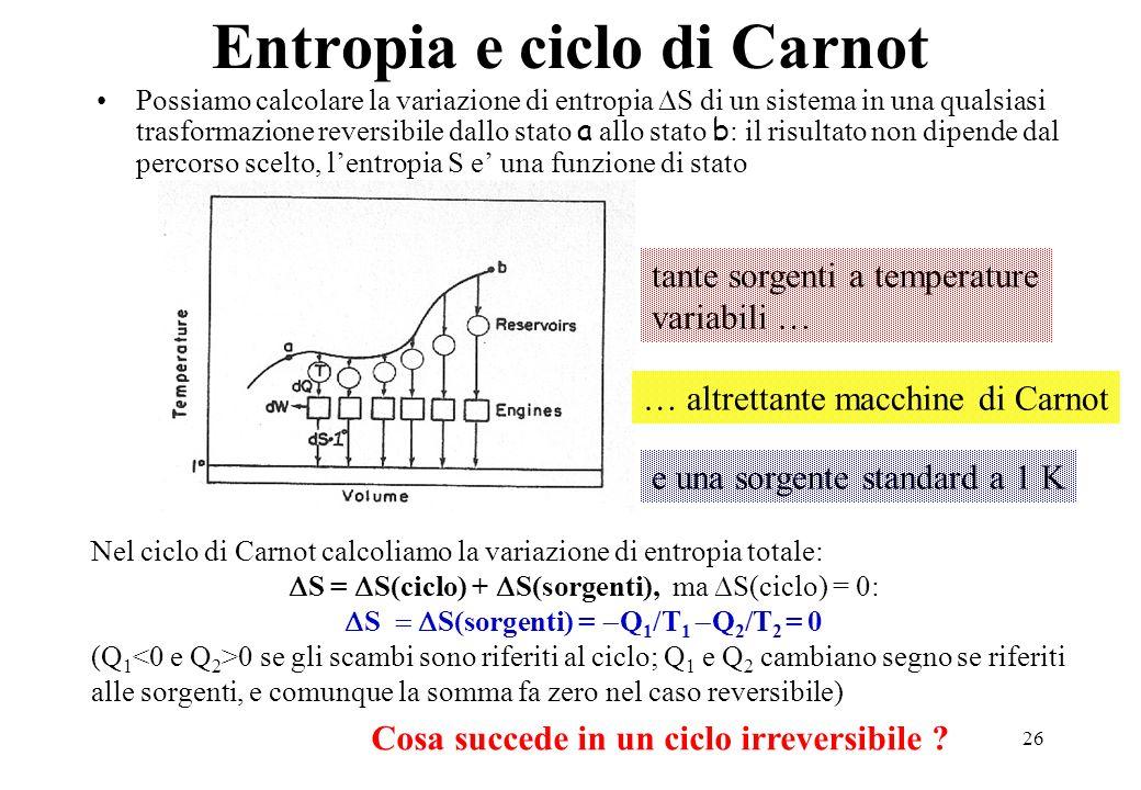 26 Entropia e ciclo di Carnot Possiamo calcolare la variazione di entropia S di un sistema in una qualsiasi trasformazione reversibile dallo stato a a