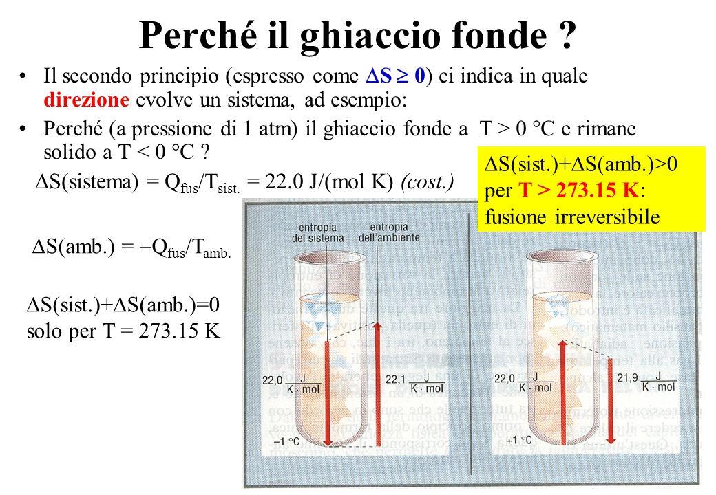28 Perché il ghiaccio fonde ? Il secondo principio (espresso come S 0) ci indica in quale direzione evolve un sistema, ad esempio: Perché (a pressione