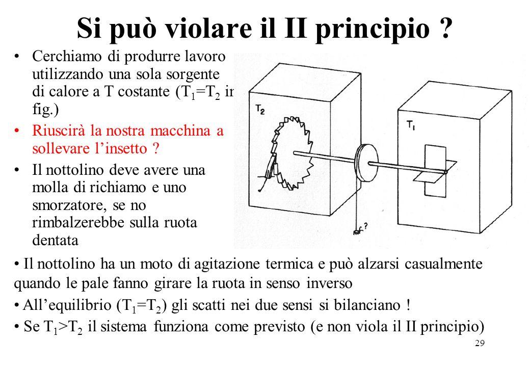 29 Si può violare il II principio ? Cerchiamo di produrre lavoro utilizzando una sola sorgente di calore a T costante (T 1 =T 2 in fig.) Riuscirà la n
