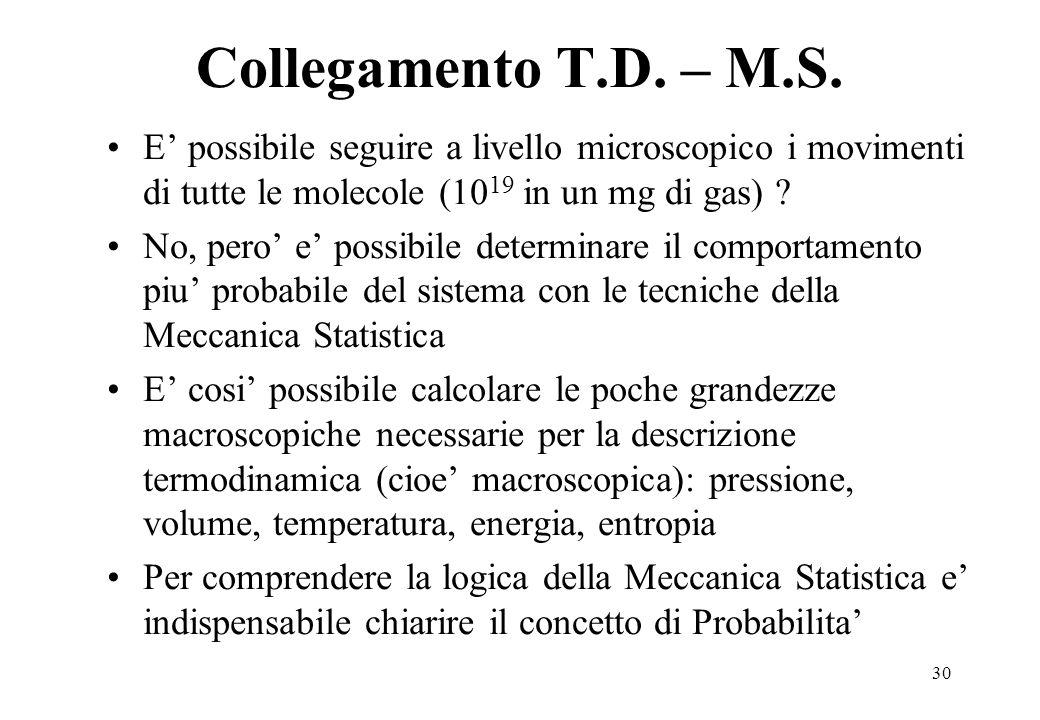 30 Collegamento T.D. – M.S. E possibile seguire a livello microscopico i movimenti di tutte le molecole (10 19 in un mg di gas) ? No, pero e possibile