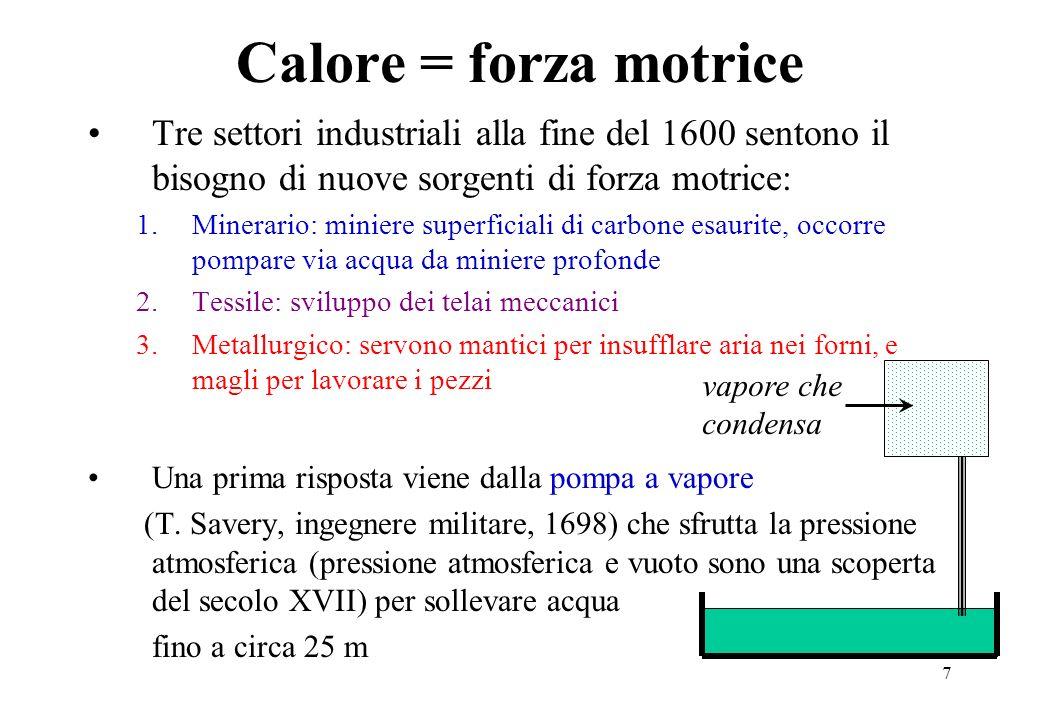 7 Calore = forza motrice Tre settori industriali alla fine del 1600 sentono il bisogno di nuove sorgenti di forza motrice: 1.Minerario: miniere superf