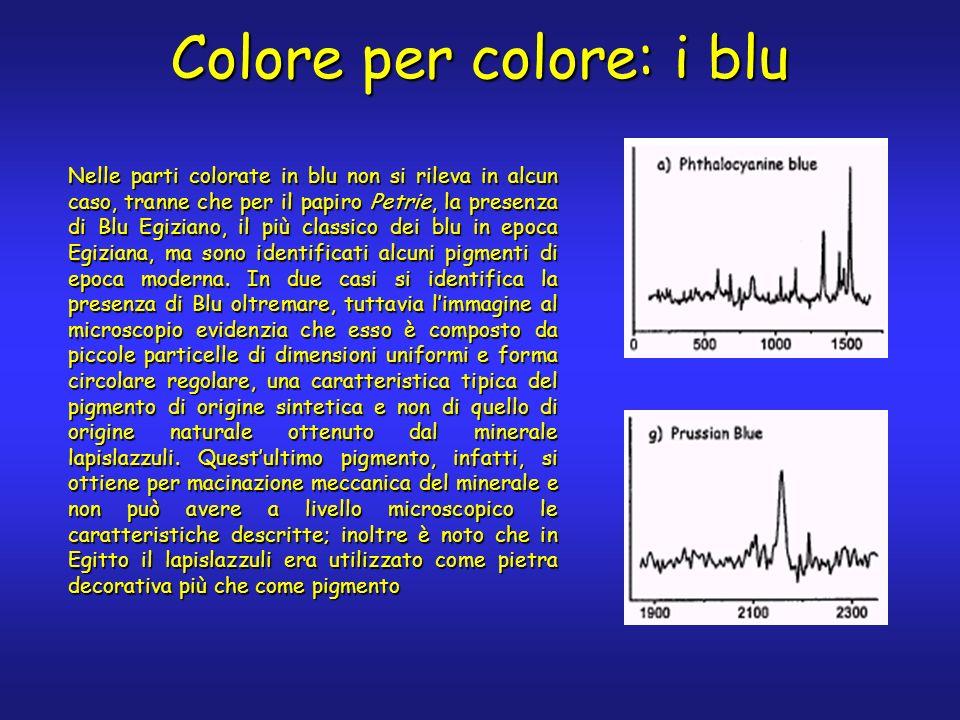 Nelle parti colorate in blu non si rileva in alcun caso, tranne che per il papiro Petrie, la presenza di Blu Egiziano, il più classico dei blu in epoca Egiziana, ma sono identificati alcuni pigmenti di epoca moderna.