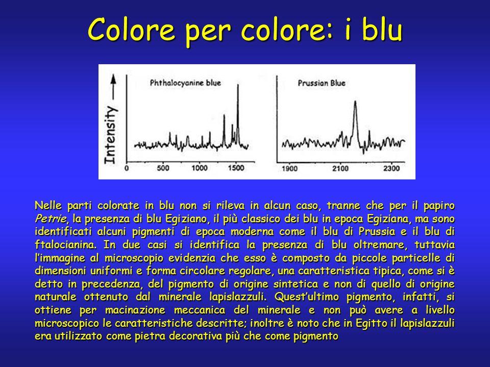 Nelle parti colorate in blu non si rileva in alcun caso, tranne che per il papiro Petrie, la presenza di blu Egiziano, il più classico dei blu in epoca Egiziana, ma sono identificati alcuni pigmenti di epoca moderna come il blu di Prussia e il blu di ftalocianina.
