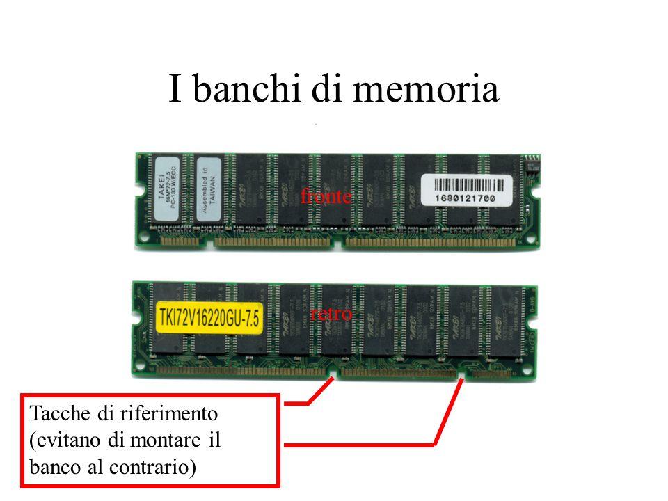 I banchi di memoria fronte retro Tacche di riferimento (evitano di montare il banco al contrario)