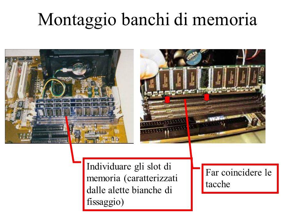 Montaggio banchi di memoria Far coincidere le tacche Individuare gli slot di memoria (caratterizzati dalle alette bianche di fissaggio)